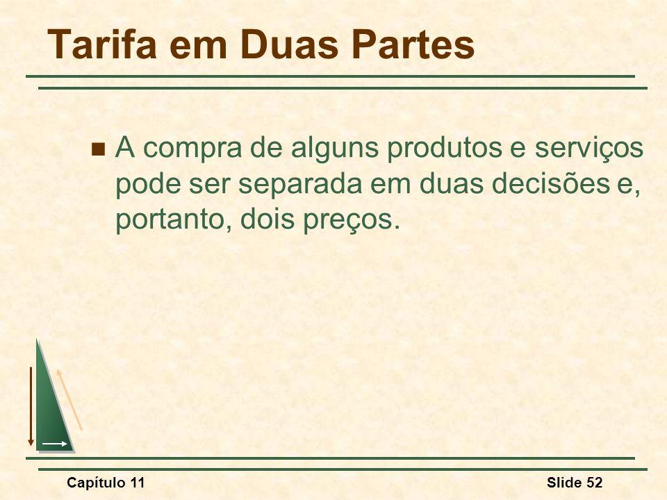 Tarifa em Duas Partes A compra de alguns produtos e serviços pode ser separada em duas decisões e, portanto, dois preços.