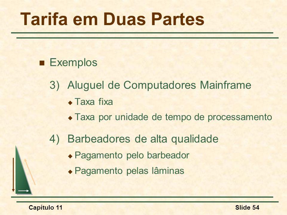 Tarifa em Duas Partes Exemplos 3) Aluguel de Computadores Mainframe