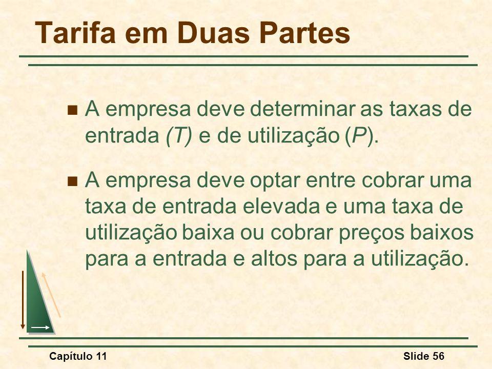 Tarifa em Duas Partes A empresa deve determinar as taxas de entrada (T) e de utilização (P).