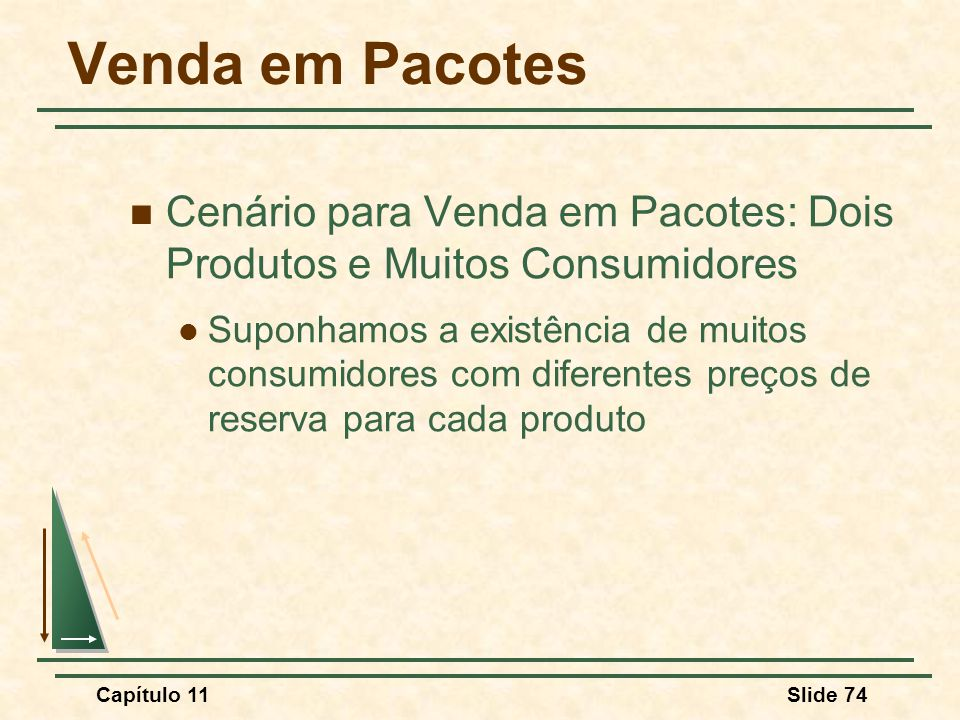 Venda em Pacotes Cenário para Venda em Pacotes: Dois Produtos e Muitos Consumidores.