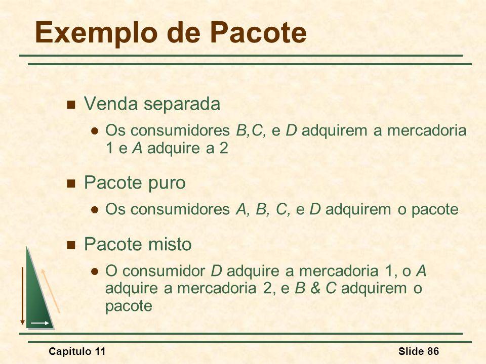 Exemplo de Pacote Venda separada Pacote puro Pacote misto