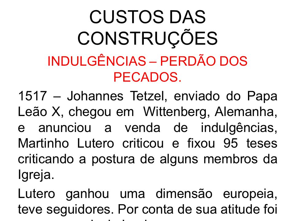 CUSTOS DAS CONSTRUÇÕES
