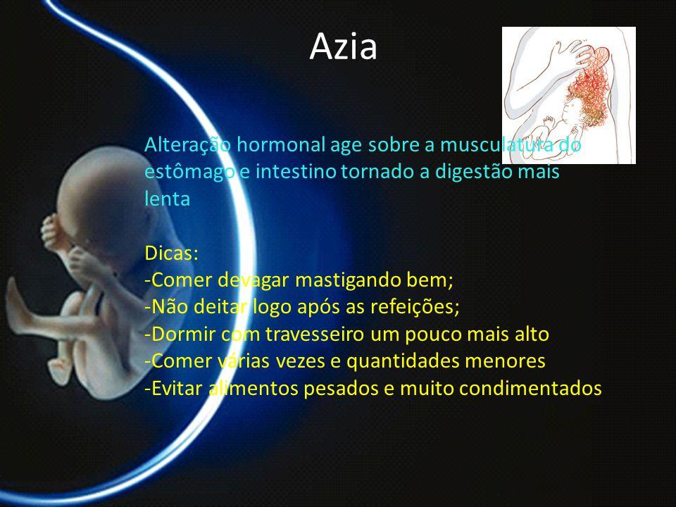 Azia Alteração hormonal age sobre a musculatura do estômago e intestino tornado a digestão mais lenta.
