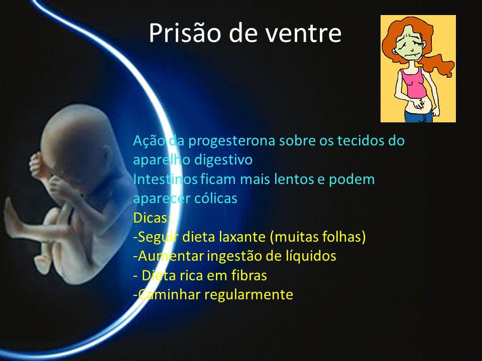 Prisão de ventre Ação da progesterona sobre os tecidos do aparelho digestivo. Intestinos ficam mais lentos e podem aparecer cólicas.