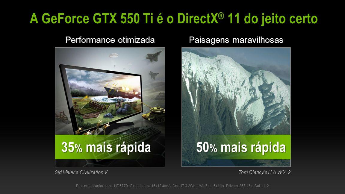 A GeForce GTX 550 Ti é o DirectX® 11 do jeito certo