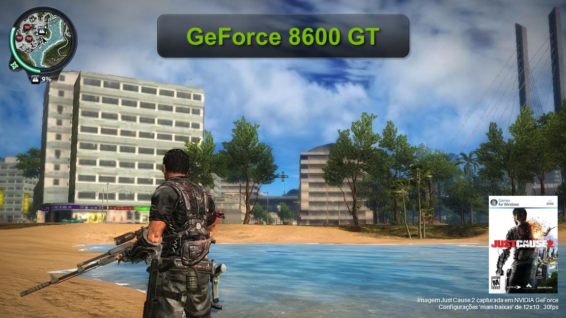 GeForce 8600 GT Imagem Just Cause 2 capturada em NVIDIA GeForce