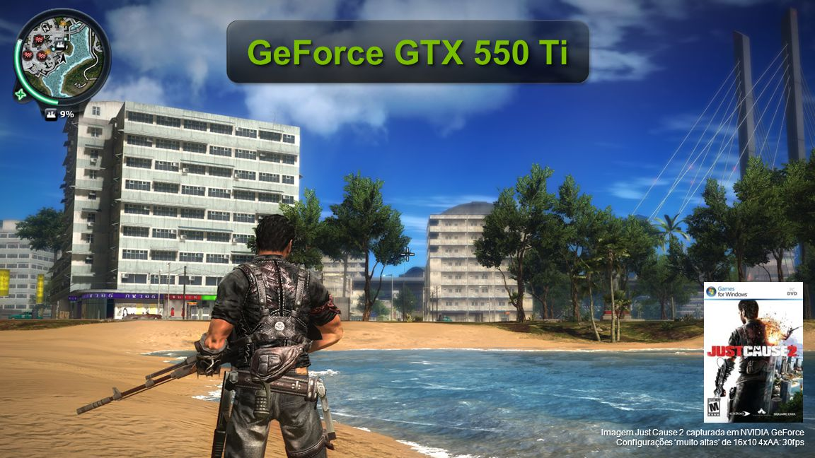 GeForce GTX 550 Ti Imagem Just Cause 2 capturada em NVIDIA GeForce