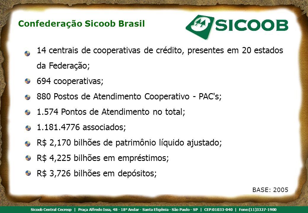 14 centrais de cooperativas de crédito, presentes em 20 estados