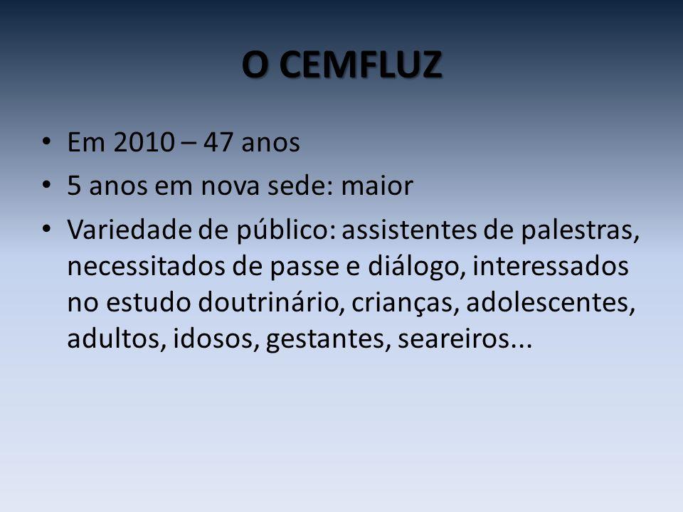 O CEMFLUZ Em 2010 – 47 anos 5 anos em nova sede: maior