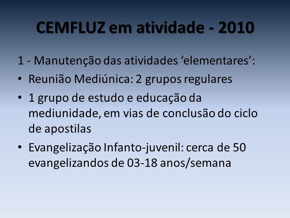 CEMFLUZ em atividade - 2010 1 - Manutenção das atividades 'elementares': Reunião Mediúnica: 2 grupos regulares.