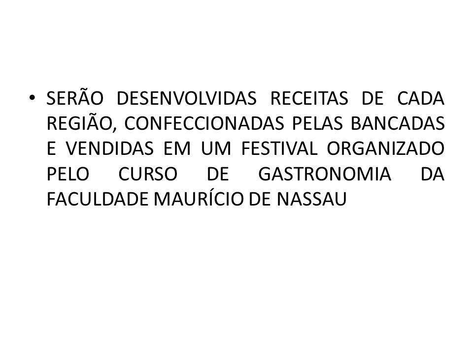 SERÃO DESENVOLVIDAS RECEITAS DE CADA REGIÃO, CONFECCIONADAS PELAS BANCADAS E VENDIDAS EM UM FESTIVAL ORGANIZADO PELO CURSO DE GASTRONOMIA DA FACULDADE MAURÍCIO DE NASSAU