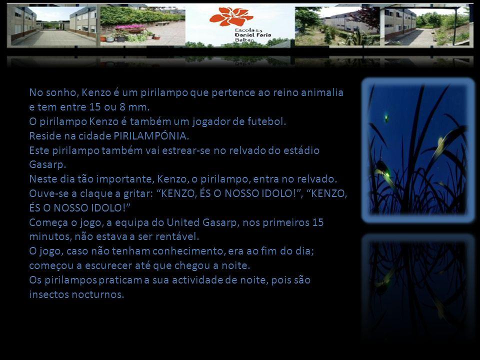 No sonho, Kenzo é um pirilampo que pertence ao reino animalia e tem entre 15 ou 8 mm.