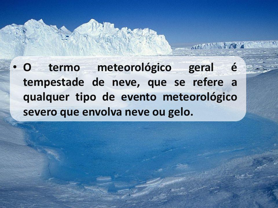 O termo meteorológico geral é tempestade de neve, que se refere a qualquer tipo de evento meteorológico severo que envolva neve ou gelo.