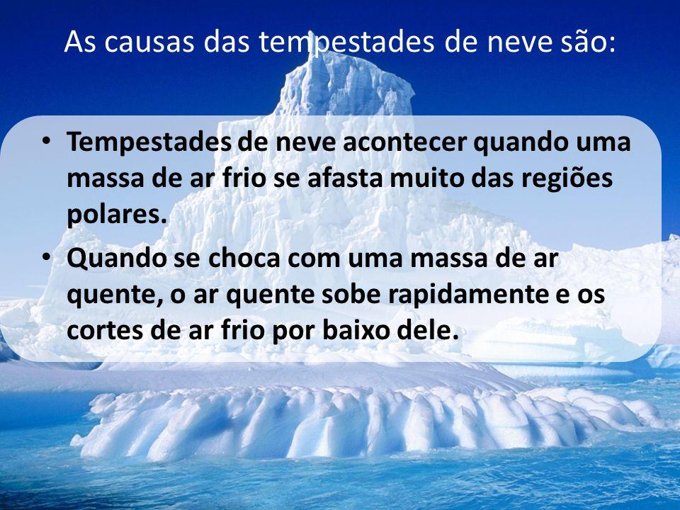 As causas das tempestades de neve são: