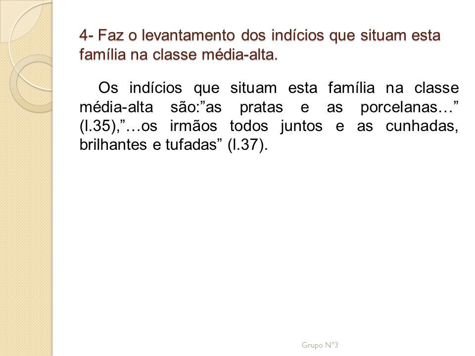 4- Faz o levantamento dos indícios que situam esta família na classe média-alta.