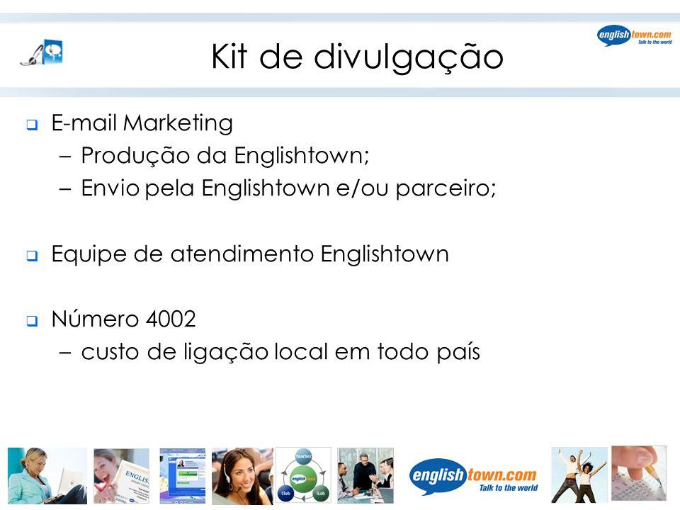 Kit de divulgação E-mail Marketing Produção da Englishtown;