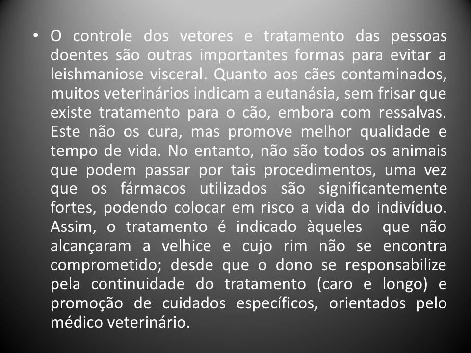 O controle dos vetores e tratamento das pessoas doentes são outras importantes formas para evitar a leishmaniose visceral.