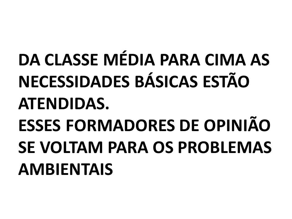 DA CLASSE MÉDIA PARA CIMA AS NECESSIDADES BÁSICAS ESTÃO ATENDIDAS.
