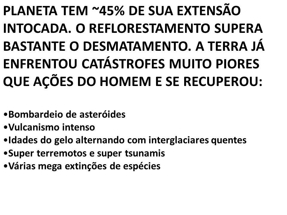 PLANETA TEM ~45% DE SUA EXTENSÃO INTOCADA