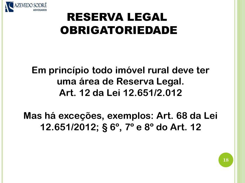 RESERVA LEGAL OBRIGATORIEDADE
