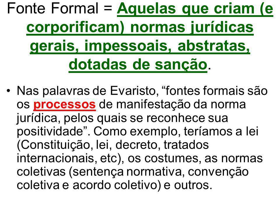 Fonte Formal = Aquelas que criam (e corporificam) normas jurídicas gerais, impessoais, abstratas, dotadas de sanção.