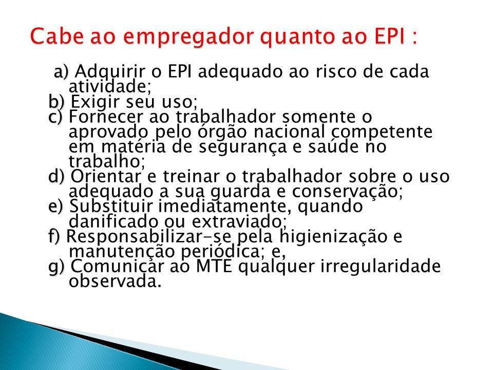 Cabe ao empregador quanto ao EPI :