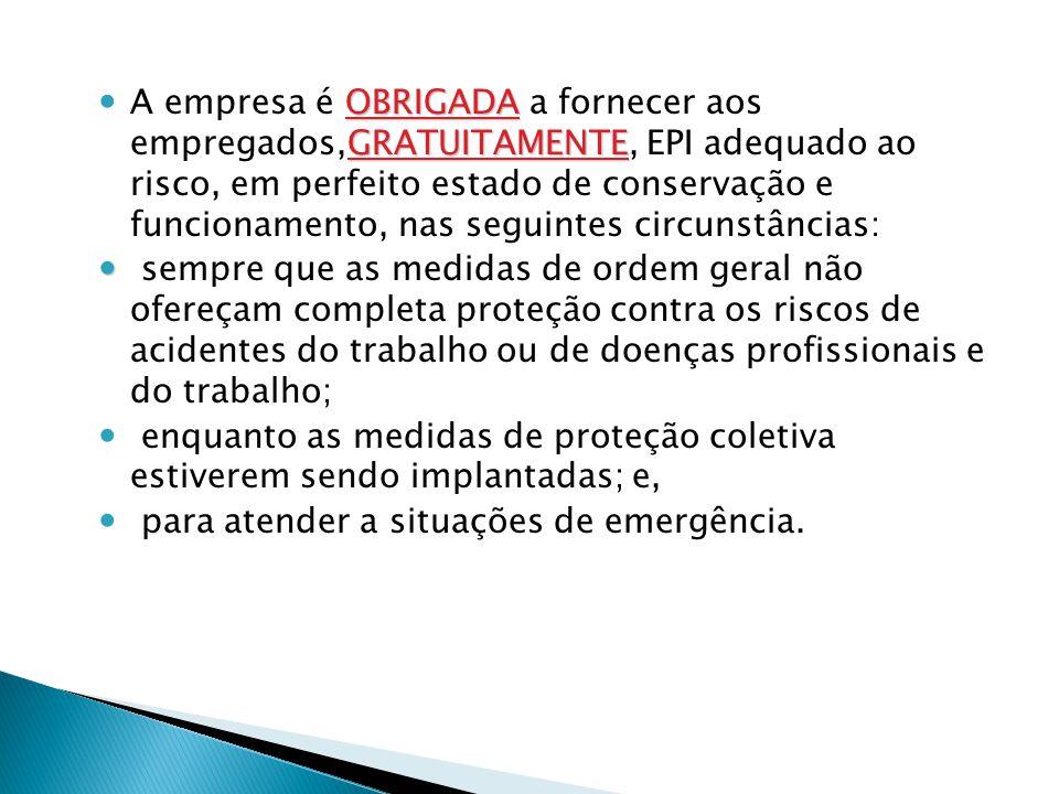 A empresa é OBRIGADA a fornecer aos empregados,GRATUITAMENTE, EPI adequado ao risco, em perfeito estado de conservação e funcionamento, nas seguintes circunstâncias: