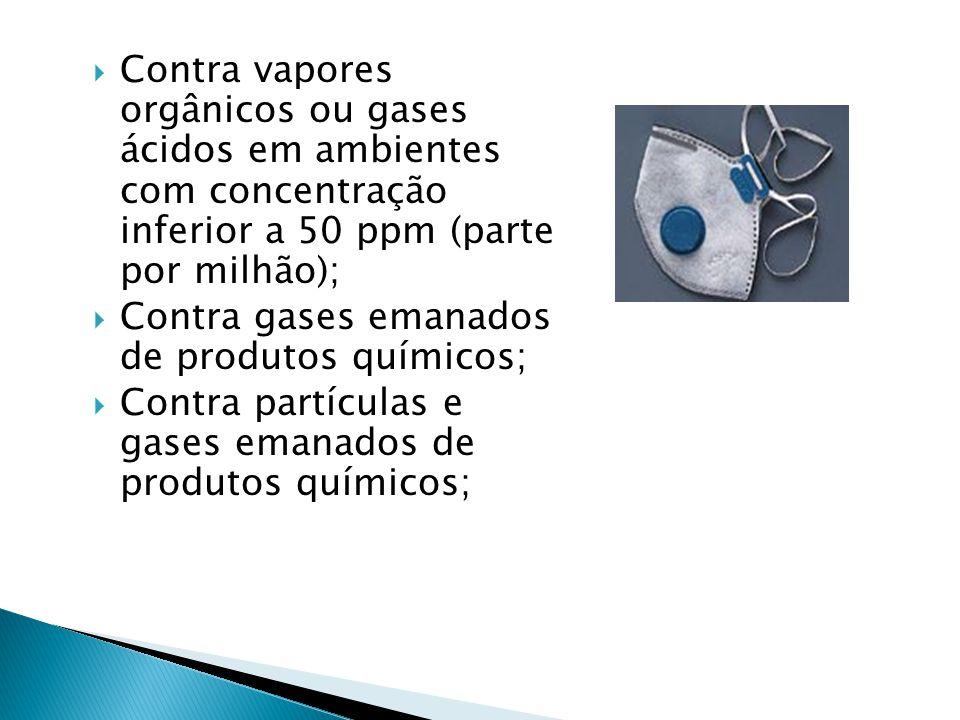 Contra vapores orgânicos ou gases ácidos em ambientes com concentração inferior a 50 ppm (parte por milhão);