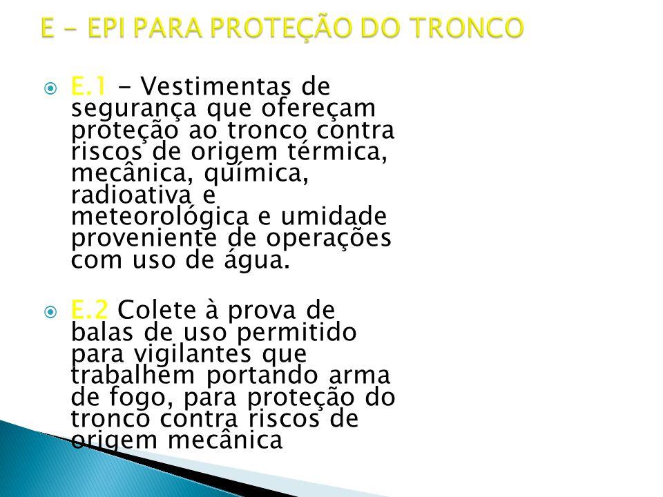 E - EPI PARA PROTEÇÃO DO TRONCO