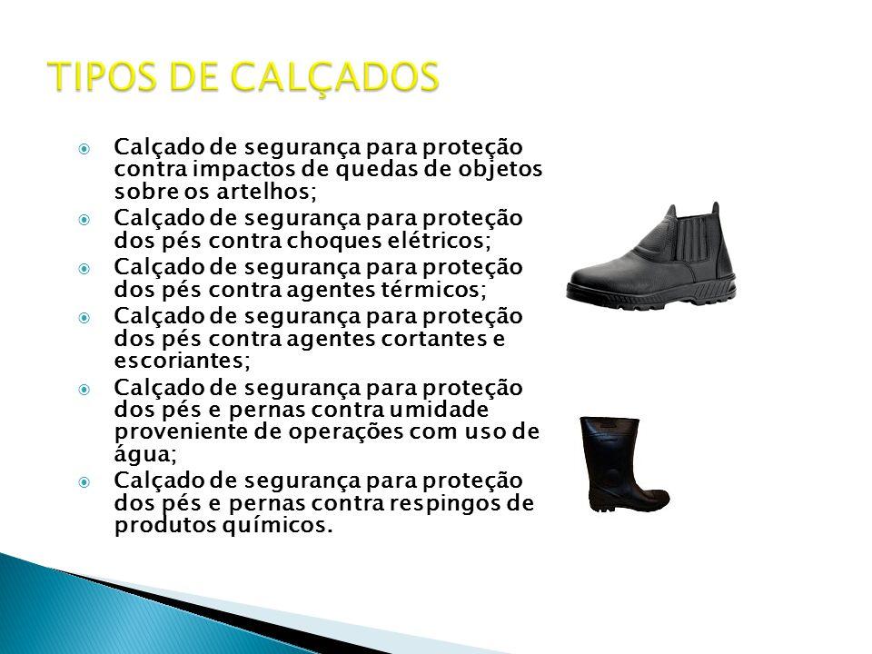 TIPOS DE CALÇADOS Calçado de segurança para proteção contra impactos de quedas de objetos sobre os artelhos;