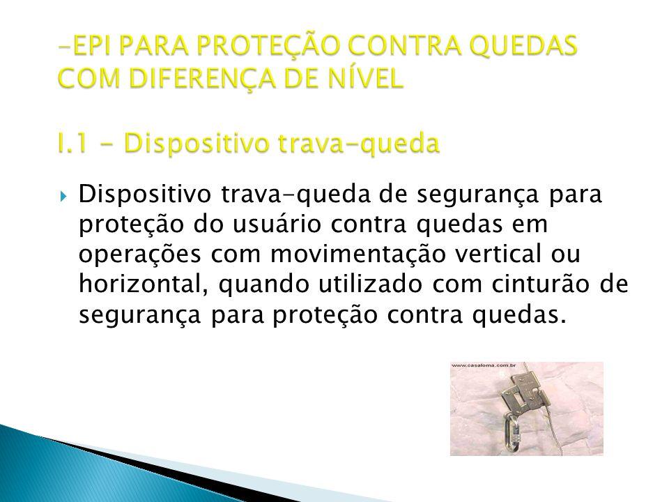 EPI PARA PROTEÇÃO CONTRA QUEDAS COM DIFERENÇA DE NÍVEL I