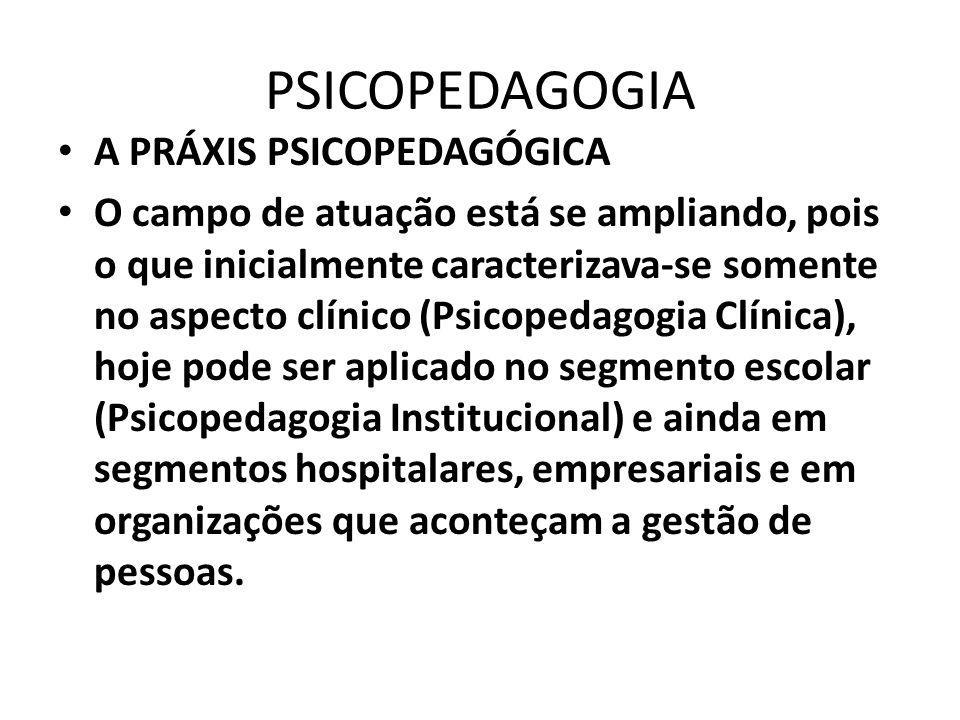 PSICOPEDAGOGIA A PRÁXIS PSICOPEDAGÓGICA