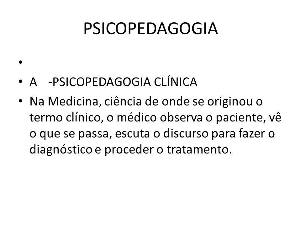 PSICOPEDAGOGIA A -PSICOPEDAGOGIA CLÍNICA