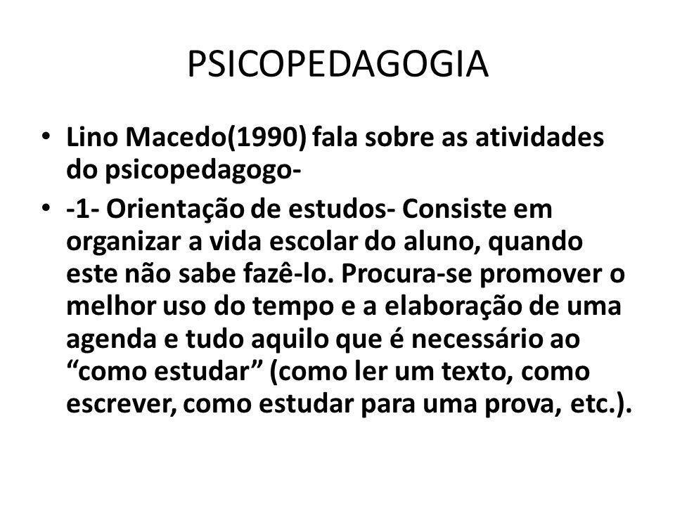 PSICOPEDAGOGIA Lino Macedo(1990) fala sobre as atividades do psicopedagogo-