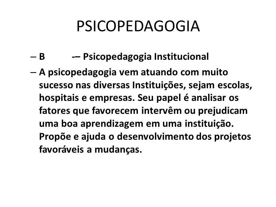 PSICOPEDAGOGIA B -– Psicopedagogia Institucional