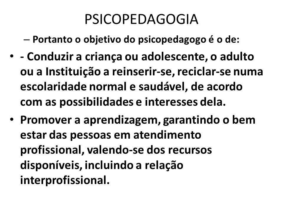 PSICOPEDAGOGIA Portanto o objetivo do psicopedagogo é o de: