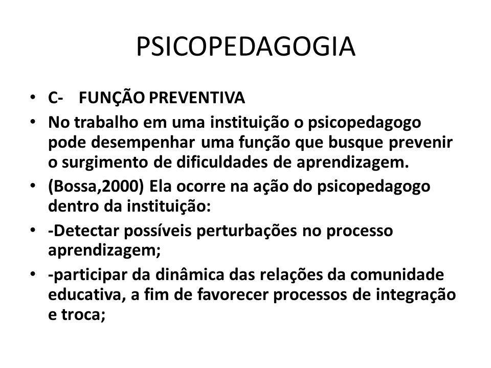 PSICOPEDAGOGIA C- FUNÇÃO PREVENTIVA