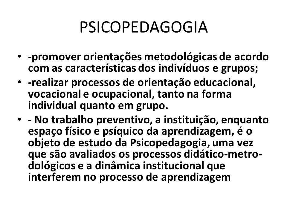 PSICOPEDAGOGIA -promover orientações metodológicas de acordo com as características dos indivíduos e grupos;