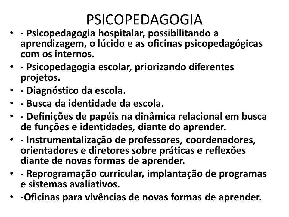 PSICOPEDAGOGIA - Psicopedagogia hospitalar, possibilitando a aprendizagem, o lúcido e as oficinas psicopedagógicas com os internos.