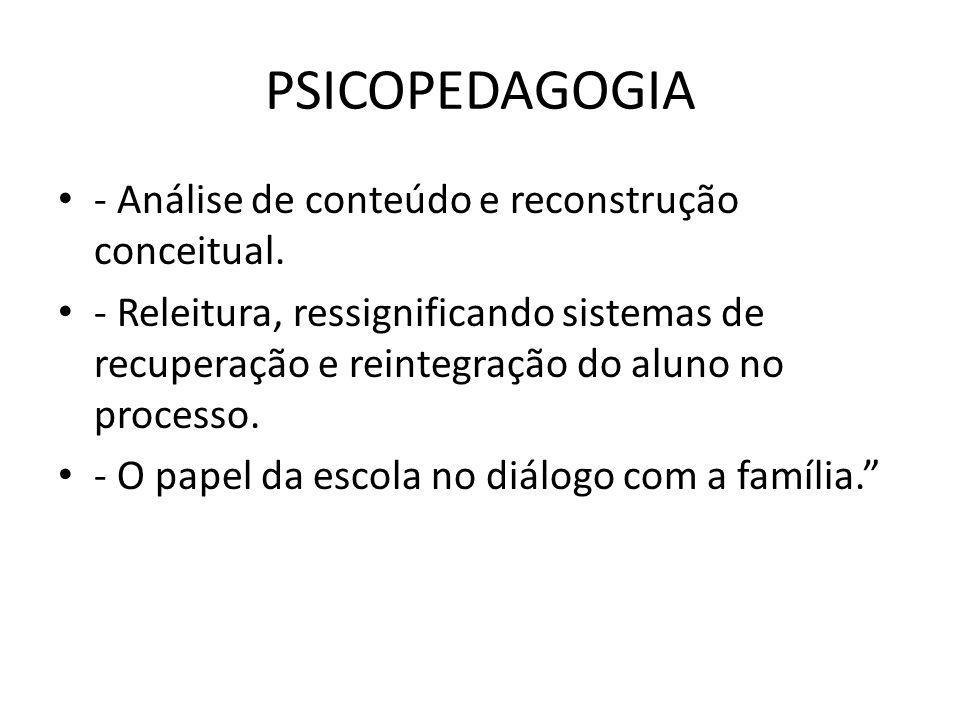 PSICOPEDAGOGIA - Análise de conteúdo e reconstrução conceitual.