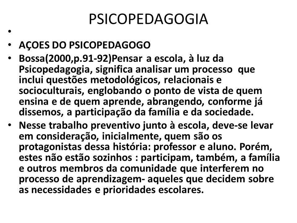 PSICOPEDAGOGIA AÇOES DO PSICOPEDAGOGO