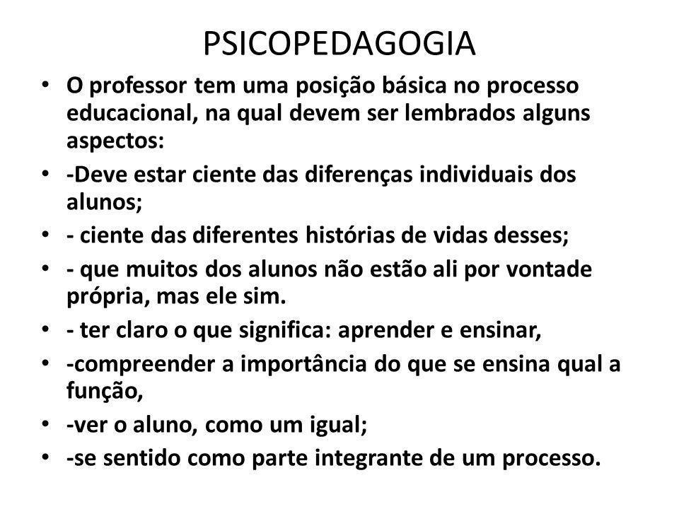 PSICOPEDAGOGIA O professor tem uma posição básica no processo educacional, na qual devem ser lembrados alguns aspectos: