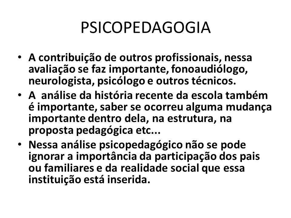 PSICOPEDAGOGIA A contribuição de outros profissionais, nessa avaliação se faz importante, fonoaudiólogo, neurologista, psicólogo e outros técnicos.