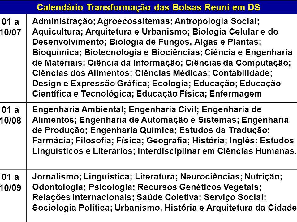 Calendário Transformação das Bolsas Reuni em DS