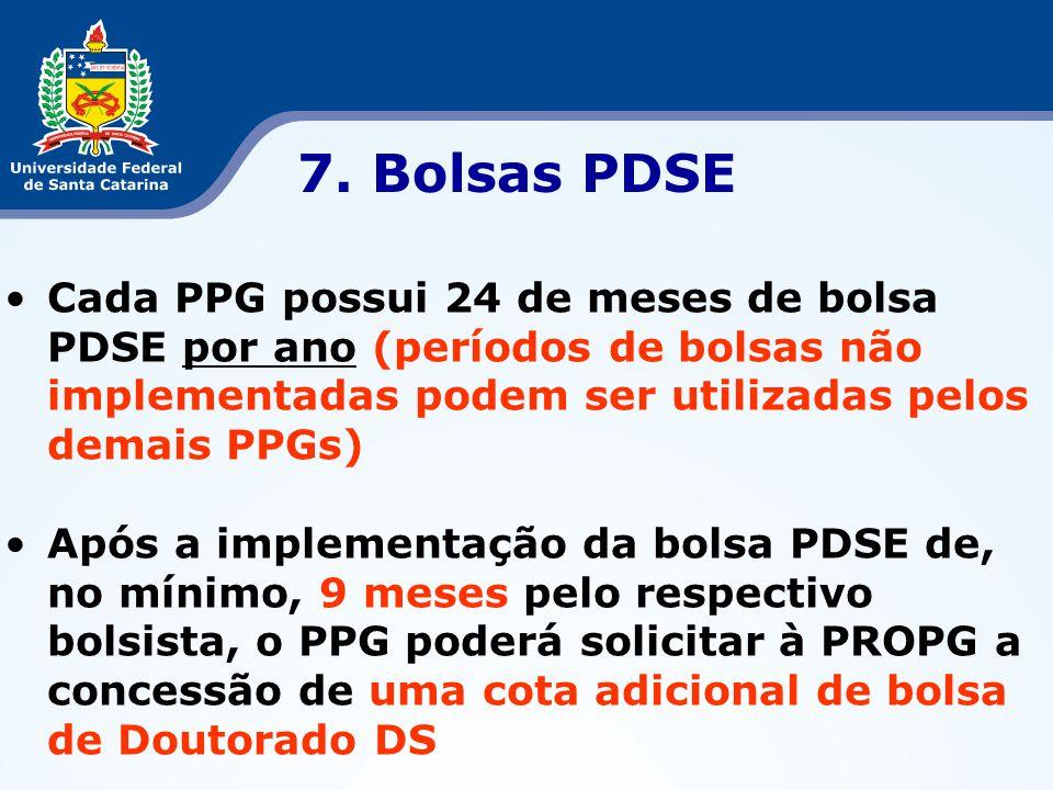 7. Bolsas PDSE Cada PPG possui 24 de meses de bolsa PDSE por ano (períodos de bolsas não implementadas podem ser utilizadas pelos demais PPGs)