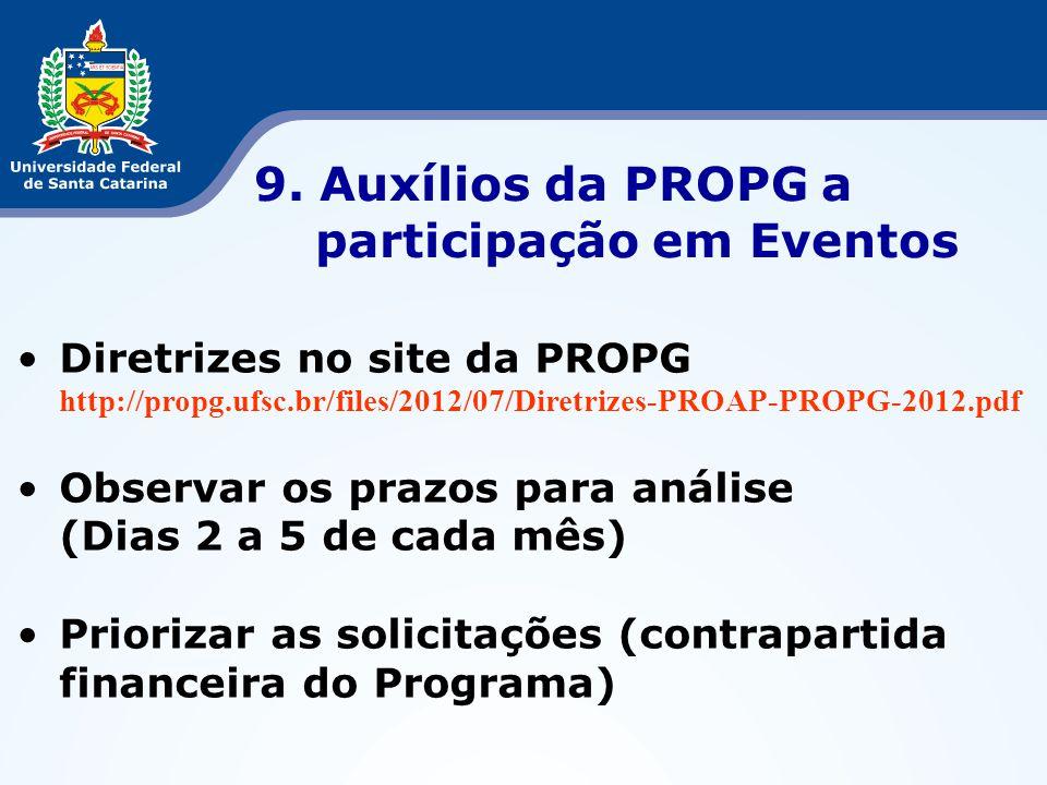 9. Auxílios da PROPG a participação em Eventos