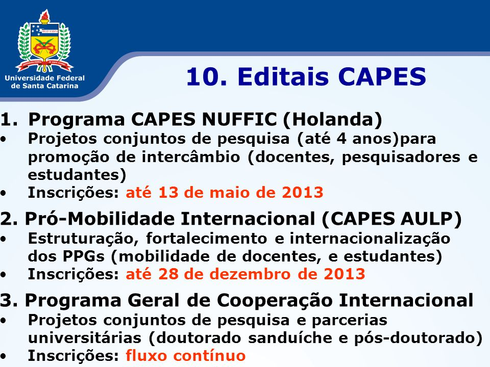 10. Editais CAPES Programa CAPES NUFFIC (Holanda)