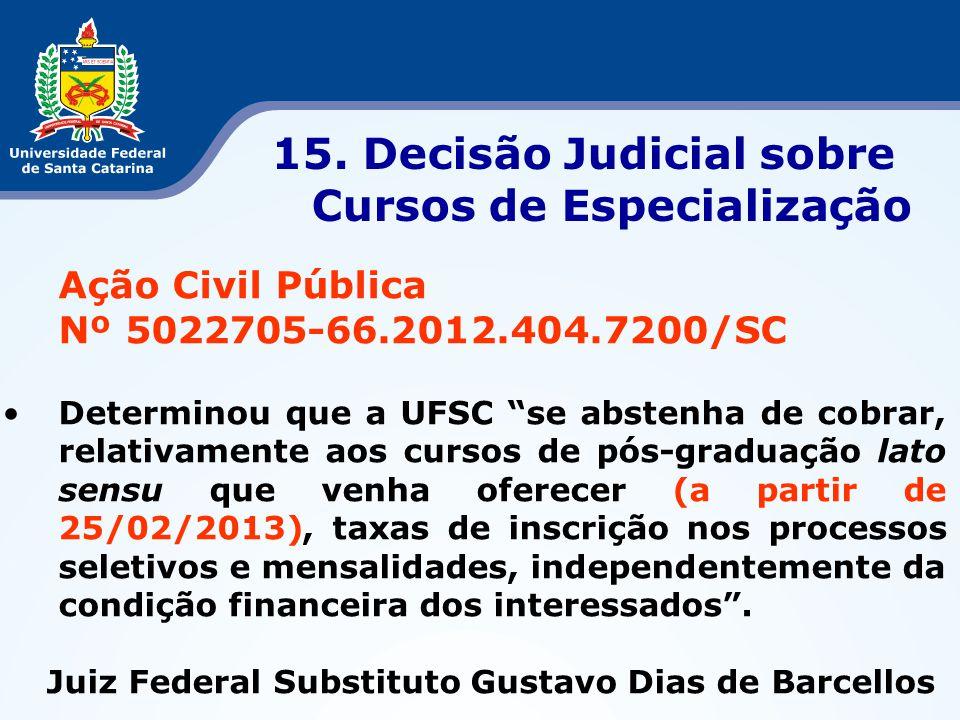 15. Decisão Judicial sobre Cursos de Especialização