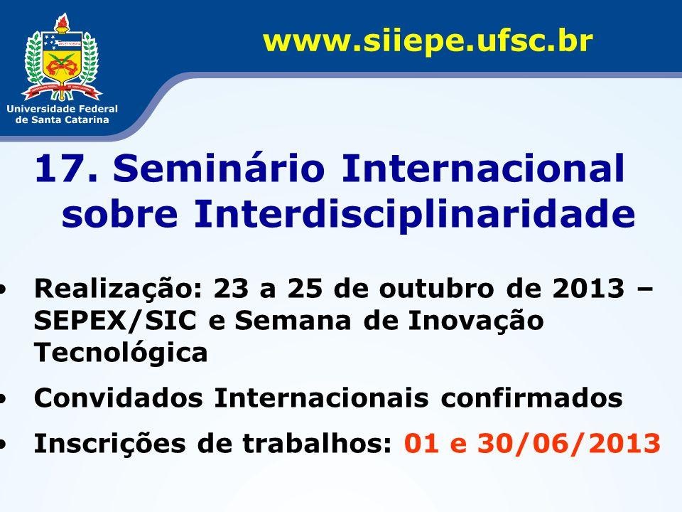 17. Seminário Internacional sobre Interdisciplinaridade