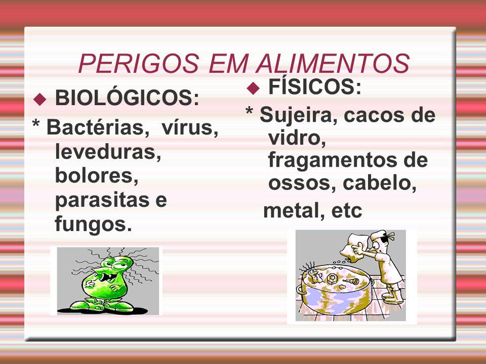 PERIGOS EM ALIMENTOS FÍSICOS: BIOLÓGICOS: